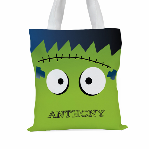 Monster Personalized Large Halloween Trick or Treat Tote Bag
