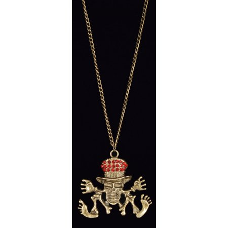 Star Power Gothic Chic Jewel Skeleton Necklace  Gold Red  One Size