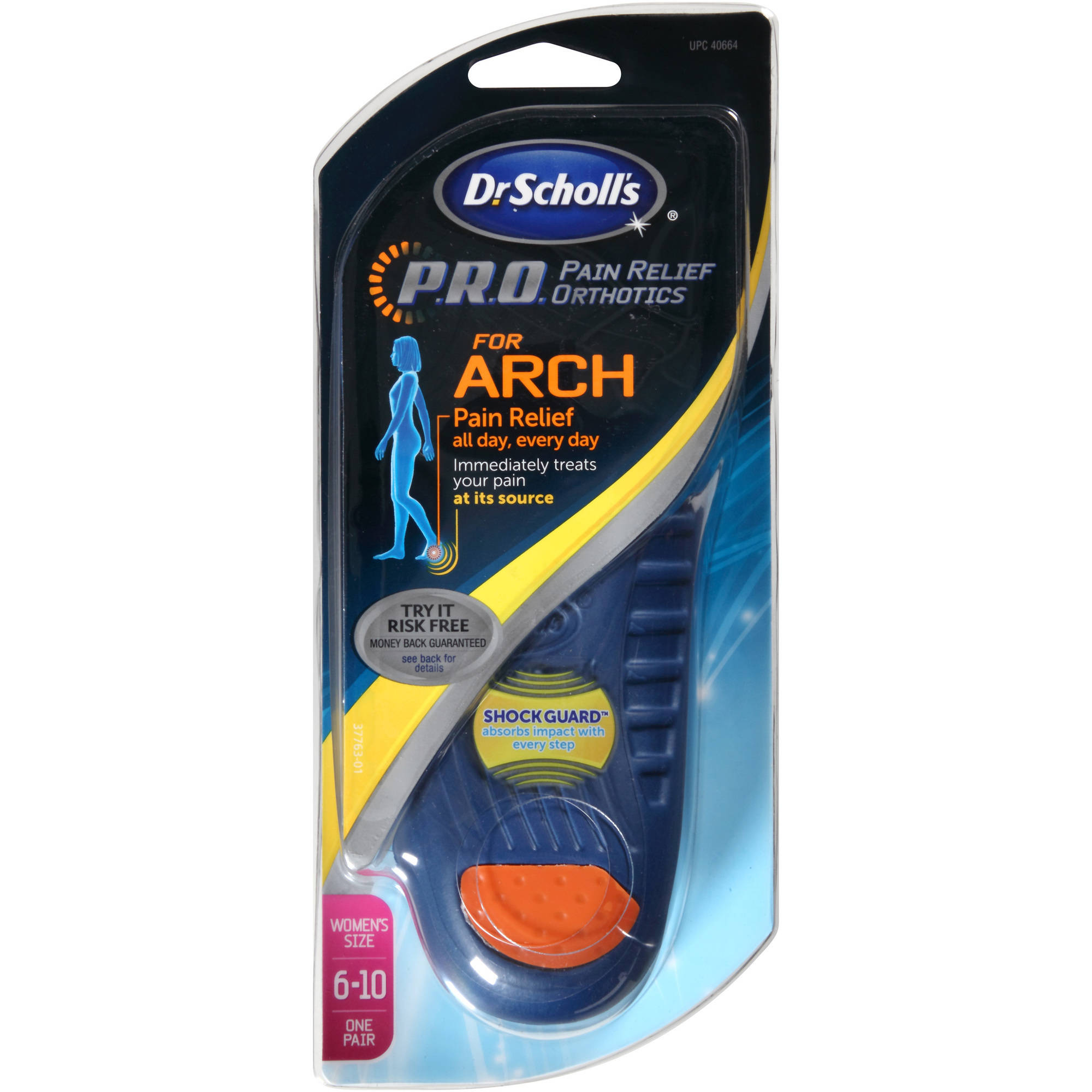 Dr. Scholl's P.R.O. Pain Relief Orthotics for Arch, Women's Size 6-10, 1 pair