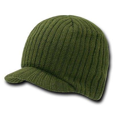 New Green Solid Campus Visor Jeep Skull Knit Ski Winter Beanie Cap Caps Hat Hats ()