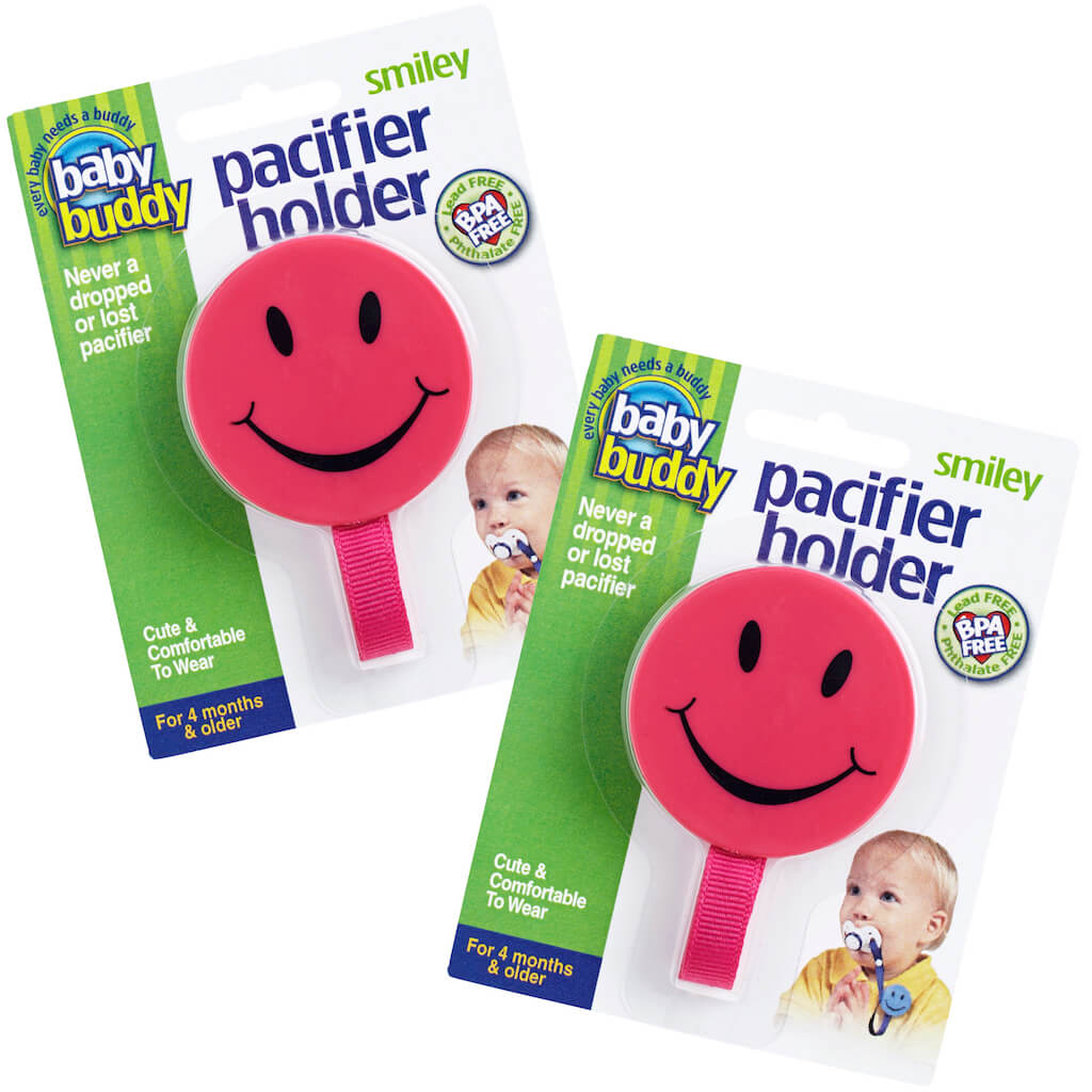 Smiley Pacifier Holder Keeps Pacifiers Nearby & Off the Ground, Pick the Clip that Grips so Kids Won't Pull the Binky Off, Metal Snaps instead of Velcro, BPA Free, 2 Count Value Pack, PINK