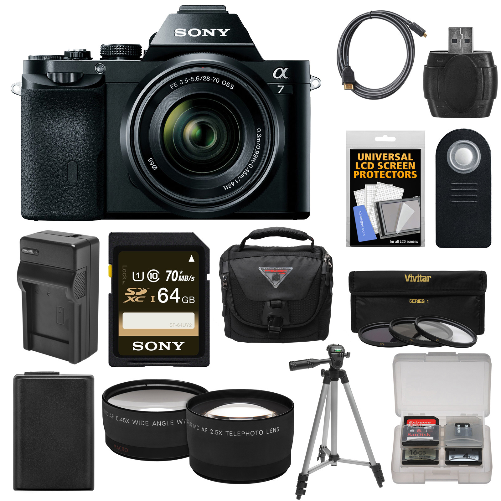 Sony Alpha A7 Digital Camera & 28-70mm FE OSS Lens with 64GB Card + Battery & Charger + Case + Tripod + Tele/Wide Lenses Kit