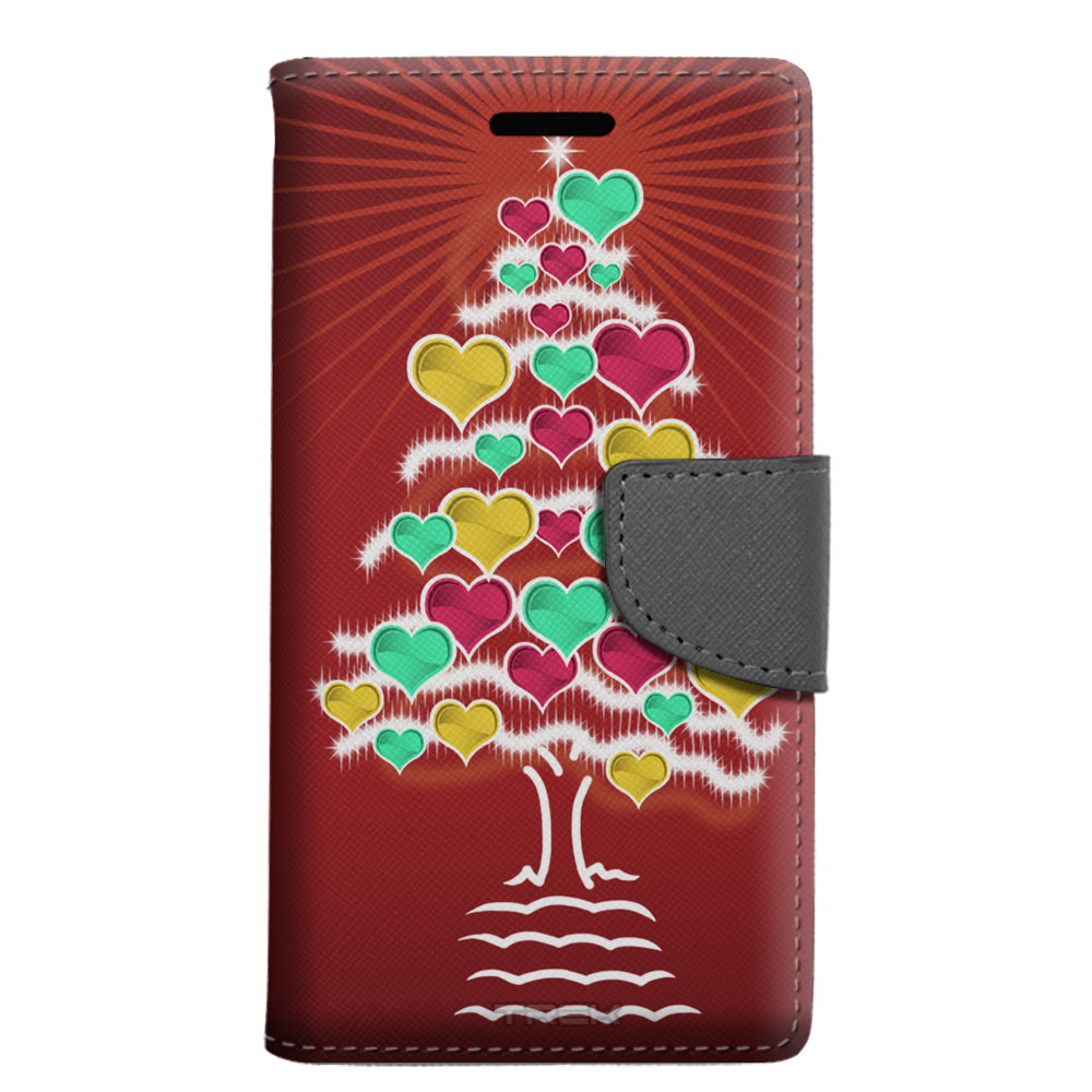 Google Pixel Wallet Case - Christmas Hearts on Red Tree Case