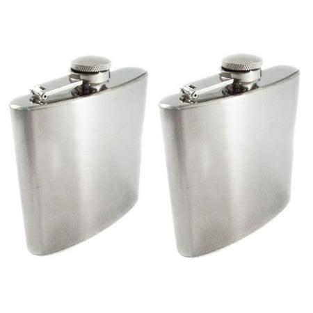 - Chrome Stainless Steel Premium Portable 8oz Hip Flask 2pk