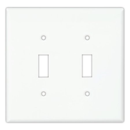 Cooper PJ2W White Mid-Size Unbreakable Two Gang Toggle Light Switch Wall Plate 2 Gang Switch Wall Plates
