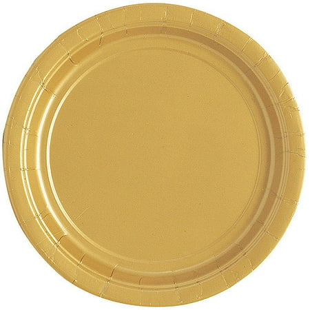 Gold Paper Dessert Plates, 7in, 20ct - Gold Paper Plates