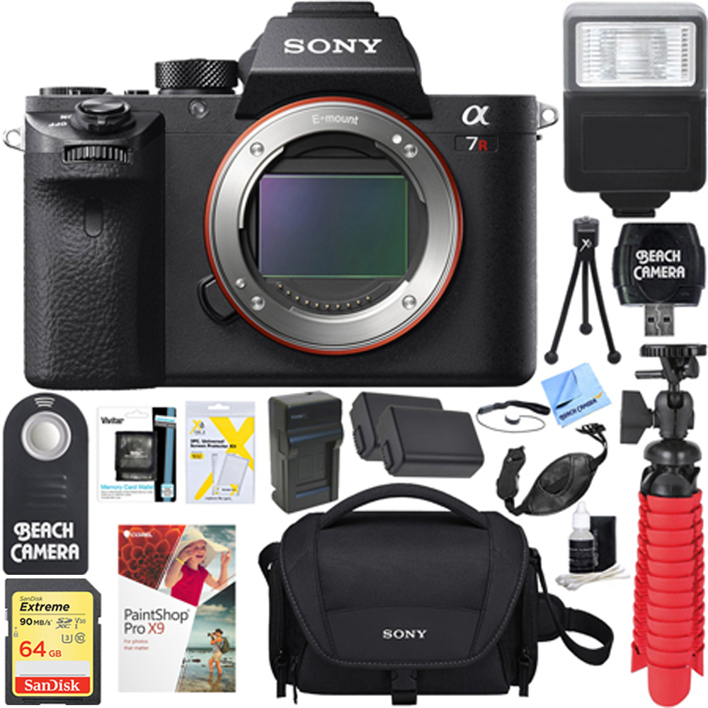 Sony a7R II Full-frame Mirrorless 42.4MP Camera Body + 64GB SDXC Memory Card + Soft Carrying Case + NP-FW50 Battery and Charger + Wireless Remote + Card Reader + Mini Tripod+More