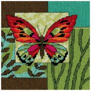 "Dimensions Butterfly Impression Mini Needlepoint Kit, 5"" x 5"""