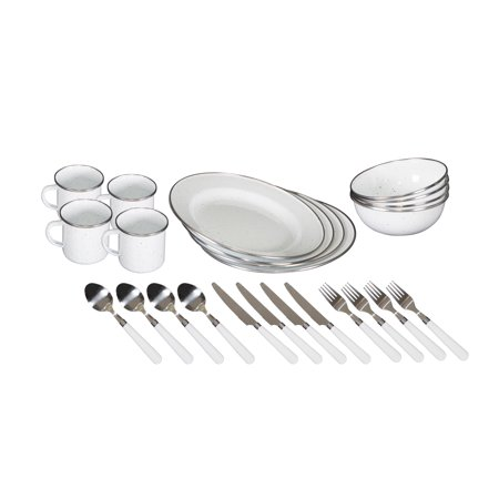 Stansport Deluxe 24-Piece Enamel Tableware (Camper Tableware Set)