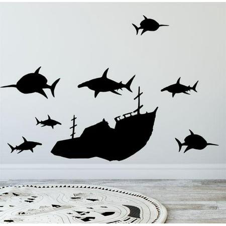 Boys Wall Decals, Vinyl Sunken Ship & Shark Wall Decals (Shrek Wall Decals)