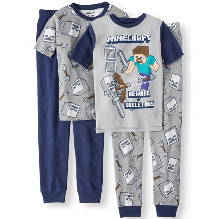 Boys' Minecraft 4 Piece Pajama Sleep Set (Little Boy & Big Boy) (Crazy 8 Pajamas)