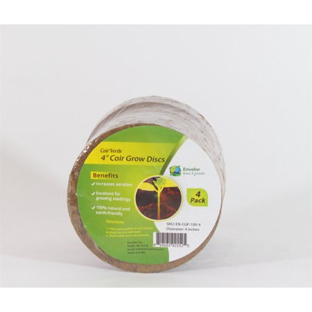 Envelor Home and Garden Coir Grow Discs 4 Inches Pack of 4 Potting Soil Coco Discs Seed Starter Pellets Coconut Peat Pellets Indoor Outdoor Garden Plants and Vegetables for Plant