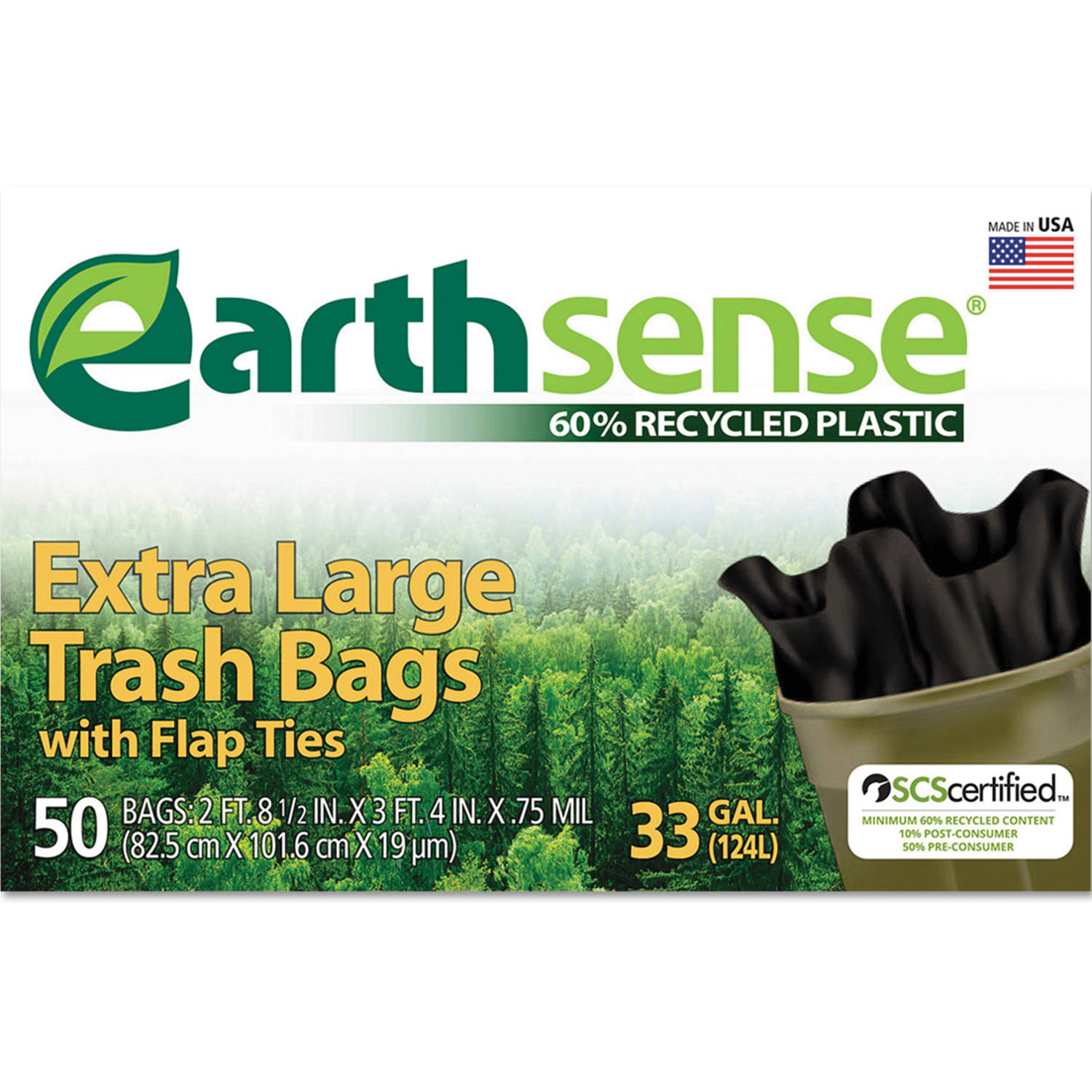 Earthsense Recycled Black Can Liners, 33 gal, 50 ct