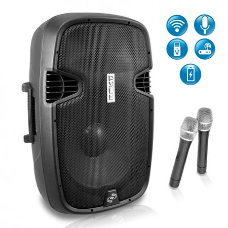 Portable Powered Loudspeaker - PYLE PPHP129WMU - Portable Hi-Power Bluetooth PA Loudspeaker System with Built-in Rechargeable Battery, Includes (2) Wireless Microphones (1000 Watt, 12'' Subwoofer)