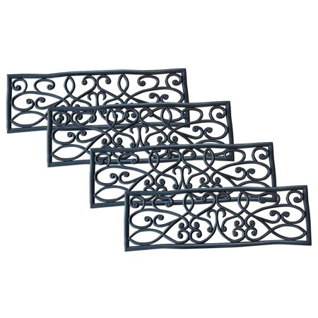 AmeriHome Rubber Scrollwork Stair Tread - Set of 4 ()