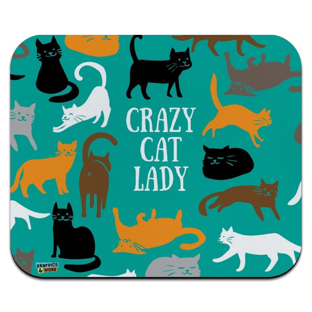 Crazy Cat Lady Teal Orange Black Brown Low Profile Thin Mouse Pad Mousepad