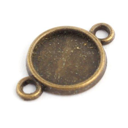 Jewelry Double Holes Retro Style Cameos Bezel Pendant Trays 10mm Inner Dia 10pcs - image 2 de 3