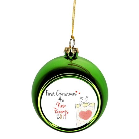 Ornament New Parents - First Christmas as New Parents 2019 - Ornaments Green Bauble Christmas Ornament Balls ()