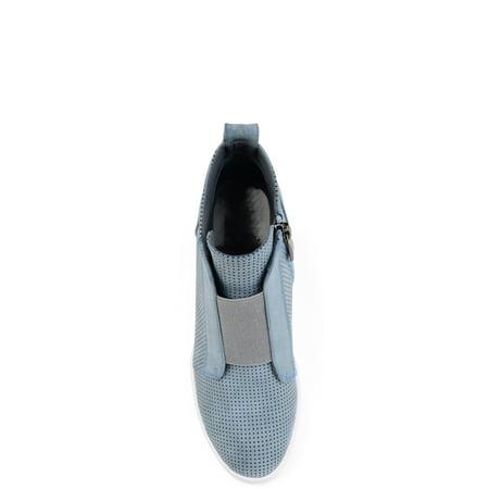 Brinley Co Womens Athleisure Laser-cut Side-zip Sneaker Wedges