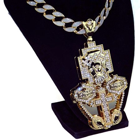 "Huge Jesus Piece Chain Last Supper Cross Combo Pendant Sand Blast Gold Finish 30"" Inch Cuban Link Hip Hop Necklace"