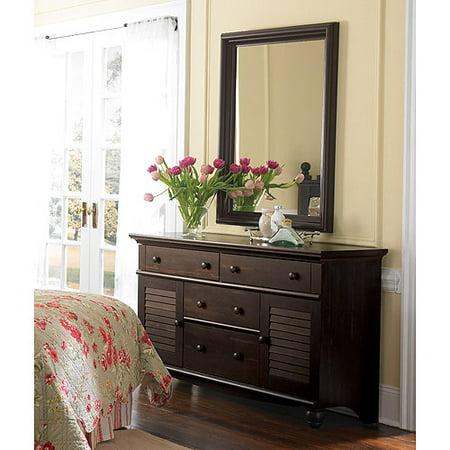 Sauder Harbor View Dresser and Mirror, Antiqued