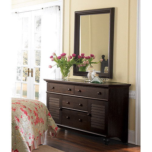 Sauder Harbor View Dresser and Mirror, Antiqued paint