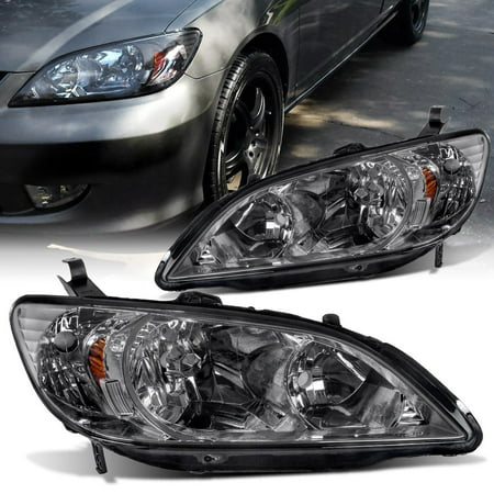 For 2004-2005 Honda Civic Headlight Assembly Smoke Housing Headlamps Replacement with Amber Replector (Driver and Passenger Side) Civic Projector Headlights Black Housing