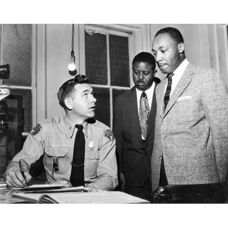 Martin Luther King Jr N(1929-1968) American Cleric And Civil Rights Leader King (Right) Being Booked By Lieutenant Drue H Lackey Of The Montgomery Alabama Police Department For His Role In Leading A
