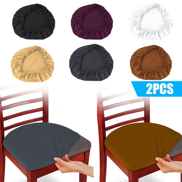 Set Of 2 Soft Spandex Dining Chair Seat, Dining Room Chair Seat Cushion Covers