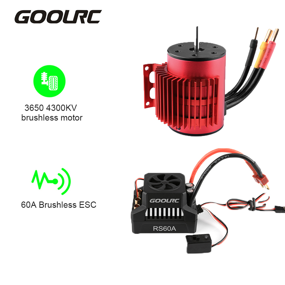 GoolRC HobbyFans 3650 4300KV Brushless Motor with Heat Sink Fan and 60A Brushless ESC Waterproof Electric Speed Controller Combo Set for 1//10 RC Car Truck