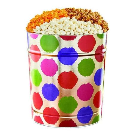 The Popcorn Factory Popcorn Gift Tin, Dot, 3.5 Gallons (Robust Cheddar, White Cheddar, Caramel) - Halloween Popcorn Tin