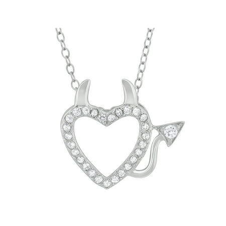 CZ Sterling Silver Devil Heart Pendant, 18