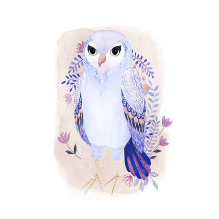 Enchanting Forester III Folk Art Lavender Purple Watercolor Painting of Forest Animal Bird Owl Print Wall Art By Grace Popp](Halloween Folk Art Paintings)