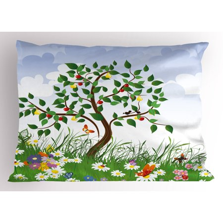 Nature Pillow Sham Cartoon Landscape Forest Garden Cherry Tree and Colorful Spring Flowers Butterflies, Decorative Standard Queen Size Printed Pillowcase, 30 X 20 Inches, Multicolor, by (Butterfly Garden Queen)