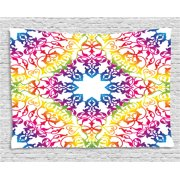 India Tapestry Abstract Ombre Rainbow Colored Lace Mandala Tie Dye Flower Kids Hippie Decor