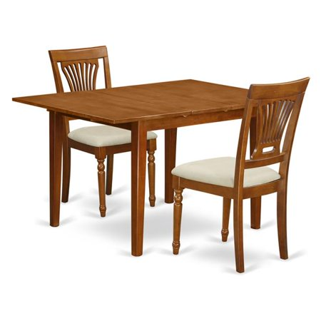 Milan Table with a Leaf & Two Cushioned Chairs, Saddle Brown - 3 Piece