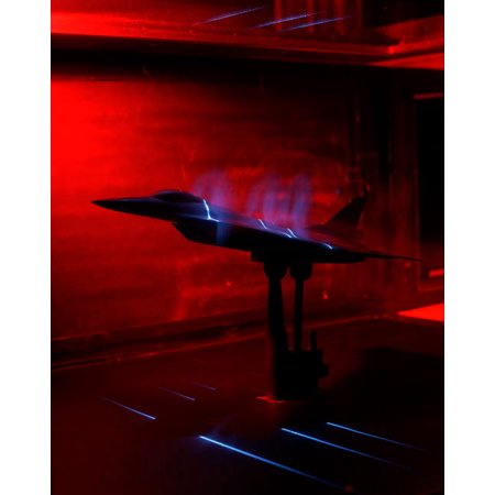 A basic flow visualization test of an F-16XL Scamp model Poster Print by Stocktrek Images