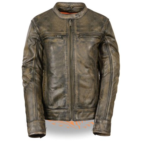 Milwaukee Leather Milwaukee Leather Womens Distressed Brown Vented Leather Scooter Jacket with Gu - X-Small Beige