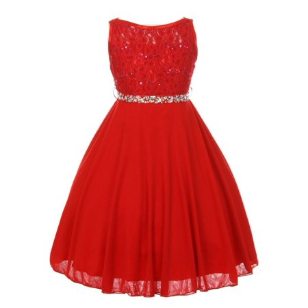 Girls Red Sparkle Sequin Lace Chiffon Occasion Dress for $<!---->
