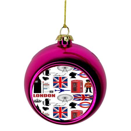 London Travel Art England Britian Gb Uk United Kingdom Bauble Christmas Ornaments Pink Bauble Tree Xmas Balls