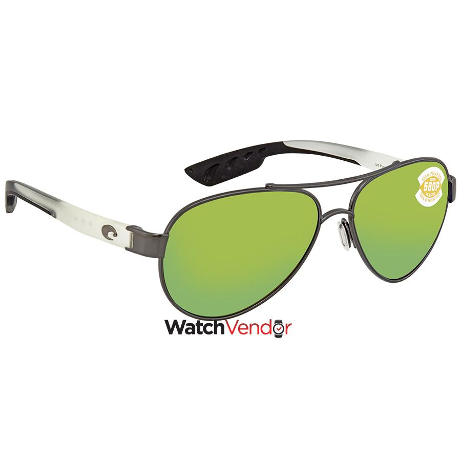 625b076d42d Costa Del Mar Green Mirror 580P Aviator Sunglasses LR 74 OGMP