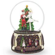6 nutcracker and ballerina dancing around christmas tree music snow globe