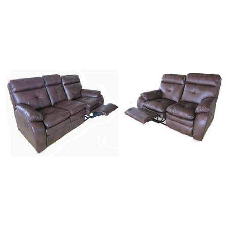 Soft Leather Recliner Sofa With Loveseat In Brown