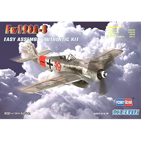 Fw 190A-8 Easy Assembly Airplane Model Building Kit, 1-piece canopy, drop tank and basic cockpit insert By Hobby