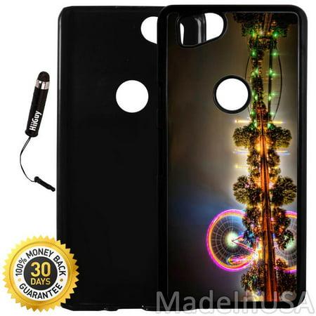 Custom Google Pixel 2 Case (Colorful Ferris Wheel Night) Plastic Black Cover Ultra Slim   Lightweight   Includes Stylus Pen by -