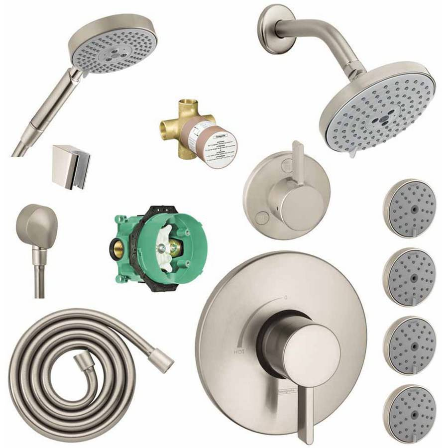Handshower Hansgrohe KSHB27495-04233-1477PC Raindance Shower Faucet Kit with 4 Body Sprays Chrome PBV Trim with Rough and Diverter Trim with Rough