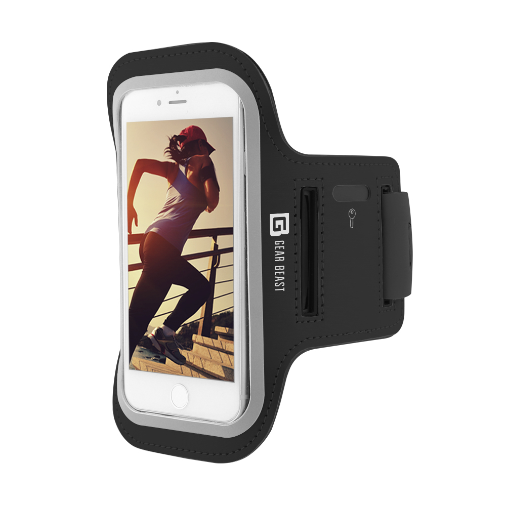 Gear Beast Sports Armband Case For Apple iPhone X 8 7 6 6s Samsung Galaxy S7 S6 S6 Edge. Cell Phone Holder For Running Jogging Workout Fitness And Exercise. Waterproof Reflective Band With Key Pocket