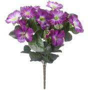 "OakRidge Silk Petunia Bush – Artificial Flowers Outdoor Décor – Yellow, 15"" High"