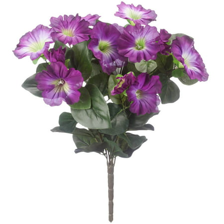"OakRidge Silk Petunia Bush – Artificial Flowers Outdoor Décor – Purple, 15"" High"