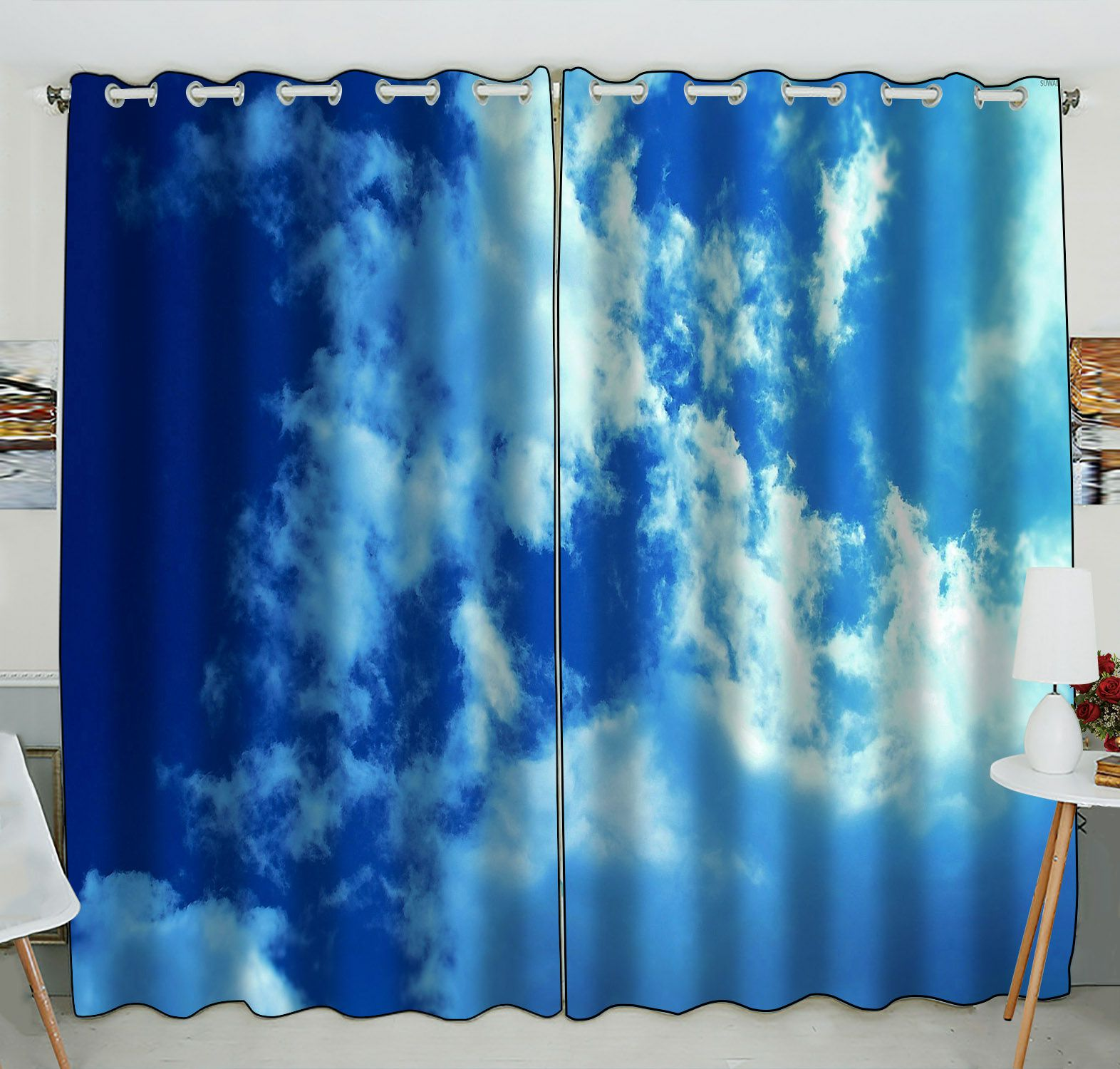 ZKGK Blue Sky White Clouds Window Curtain Drapery/Panels/Treatment For Living Room Bedroom Kids Rooms 52x84 inches Two Panel